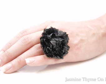 Boho Ring, Boho Jewelry, Hippie Jewelry, Gypsy Jewelry, Big Ring, Statement Ring,  Black Ring, Flower Ring, Flower Jewelry, Resin Flower