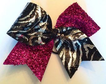 Cheer Bow -  Hot Pink and Zebra