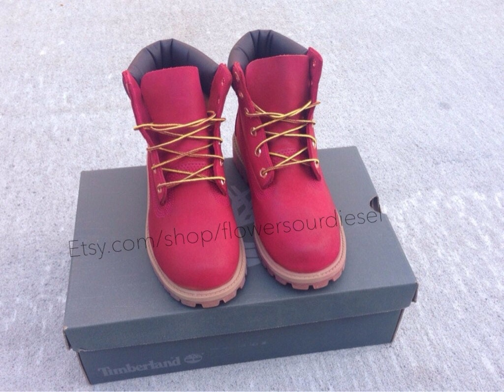Red Timberland Boots Womens Sizes by FlowerSourDiesel on Etsy