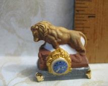 Fancy Mantle CLOCK - French Feve Feves Porcelain Figurines Doll House Miniatures Figurine V2