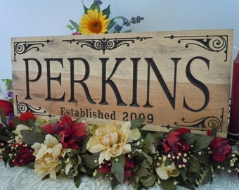 Rustic Distressed Personalized Last Name Carved Family Sign Established Date Housewarming Engraved Plaque Brides Anniversary Gift Pine 17