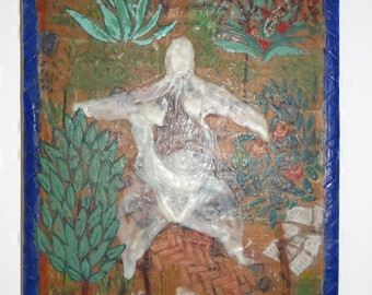 Vintage Picture Mixed Media Naïve Style  'Pond Person' Oil, Wax, Gouache And Pencil On Wood 1980s