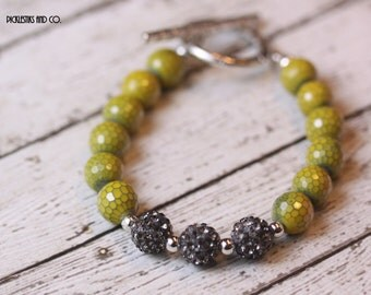 Bracelet Faceted Yellow Honeycomb Beads and Black Sparkler Beads
