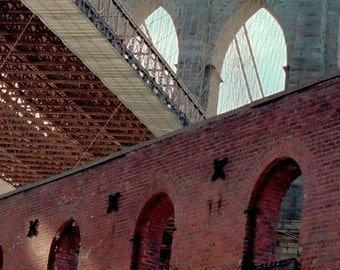 Print, Urban Landscape, Architecture, Brooklyn Bridge and Tobacco Warehouse, DUMBO, New York City USA,  April 2008