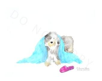 "Old English Sheepdog Watercolour ""Peek"""