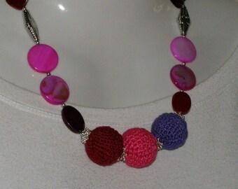 cotton necklace purple, Fuchsia, bordeaux