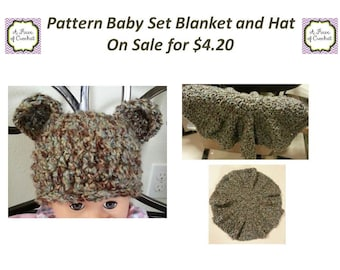 Crochet Pattern Sale Chunky Baby Hat and Blanket Set