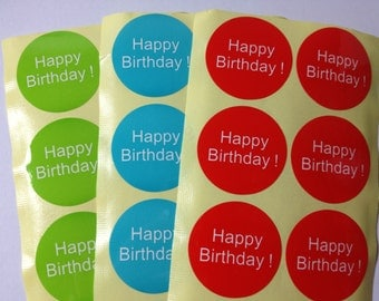 Happy Birthday Stickers - 1.5 inch Round Sticker/ Envelope Seals - Gray, Black, Green, Blue, Red, Purple, Pink