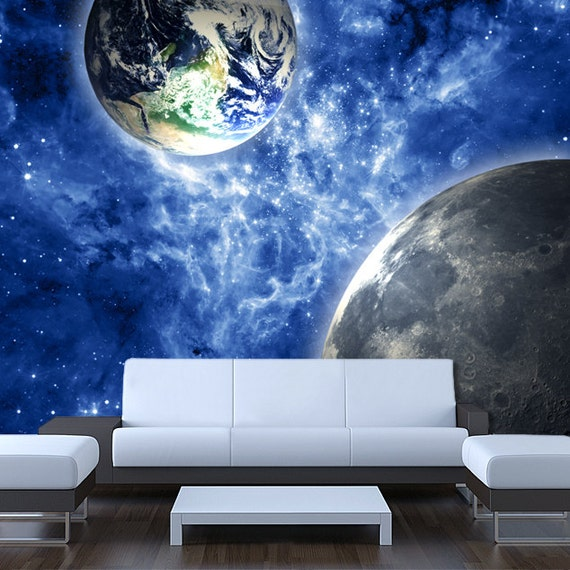 Items similar to wall sticker mural space stars earth moon for Earth rising wall mural