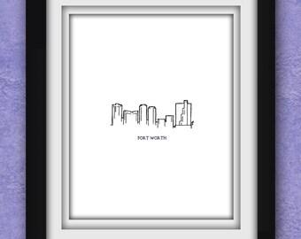 Fort Worth Skyline Minimalist Print