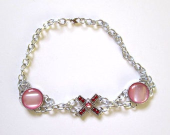 Stunning Thick Silver Chain Necklace/Choker X And O Pink Crystal Gems