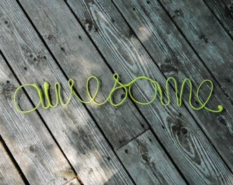 Awesome - Wire Word Wall Art - Yarn-Wrapped Word - Unique Home Decor - Graphic Wall Art - Inspirational Art - Funny Wall Art