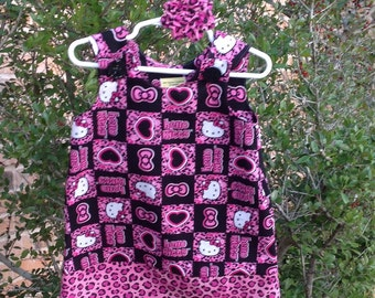 Hello Kitty Leopard Print Dress with Coordinating Pink and Black Band (baby, toddler, girls, infant, child) for Birthday or Party