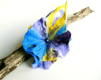 Felted flower brooch  hand felted brooch blue, yellow, violet OOAK flower