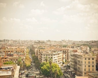 Rome Skyline Photograph, Italy Landscape, Photo Print, Wall Art, Brown and Green, Travel Photography, Home Decor, Fine Art Photography