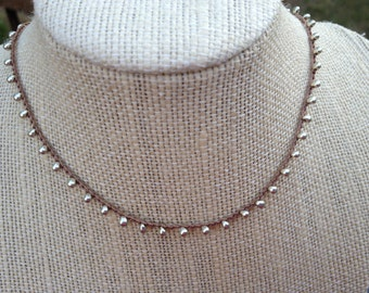Silver Droplet Beads Boho Crochet Necklace -  Tan Thread
