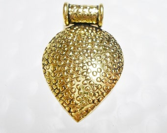 SALE: Handcrafted Pendant Slider Bail, 36x31mm Teardrop with Dot Design, Gold finished, KMP-FM