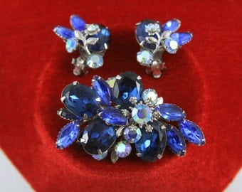 FREE SHIPPING Saphire Blue and AB Rhinestone Brooch and Earrings Signed