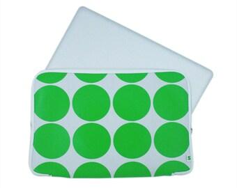 Laptop sleeve green dots - macbook 13 + 15 inch