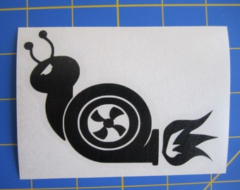 Turbo Snail With Flames Decal - 3X4