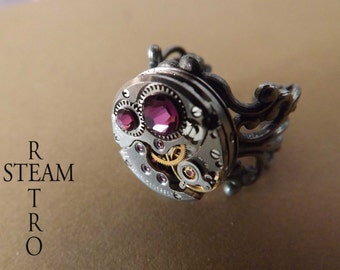 10% off sale17 Steampunk Mothers Ring Personalized CUSTOM MADE Birthstone Ring Unique Ring  Silver Filigree Ring Watch Ring