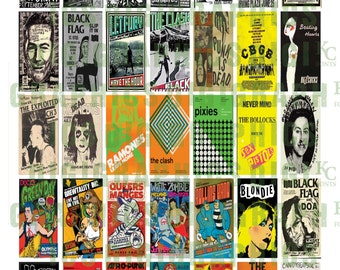 Punk Rock Posters 1X2 Domino Sized print out digital sheet.
