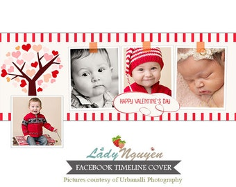 INSTANT DOWNLOAD Valentine's Day Facebook Timeline Cover Photoshop Template - F128