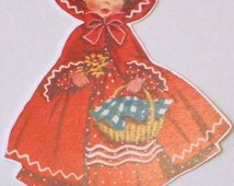 New American made childs children's retro greeting card die cut scrap cute Little Red Ridinghood doll scrapbooking party decorations crafts