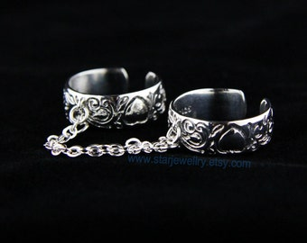 Beautiful The twins ring ring Telesthesia ring Heart balls ring ---925sterling silver