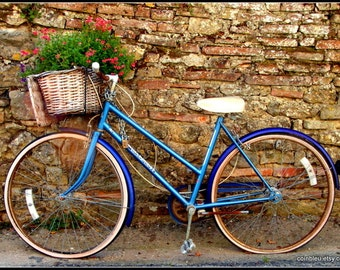 Fine art print photography : Blue bicyle, stone wall, France.