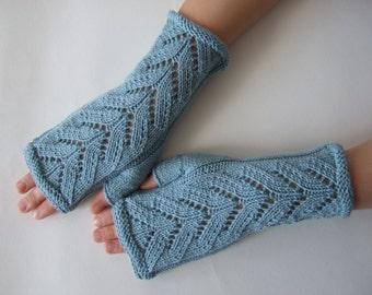 Knitted of 100 % MERINO wool. LIGHT BLUE fingerless gloves, wrist warmers, fingerless mittens. Handmade.