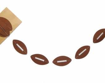 Football Garland, Paper Garland, Superbowl Garland, Superbowl Party Decoration, Birthday Party, Football Theme Party, Boys Room, 6 ft Long.