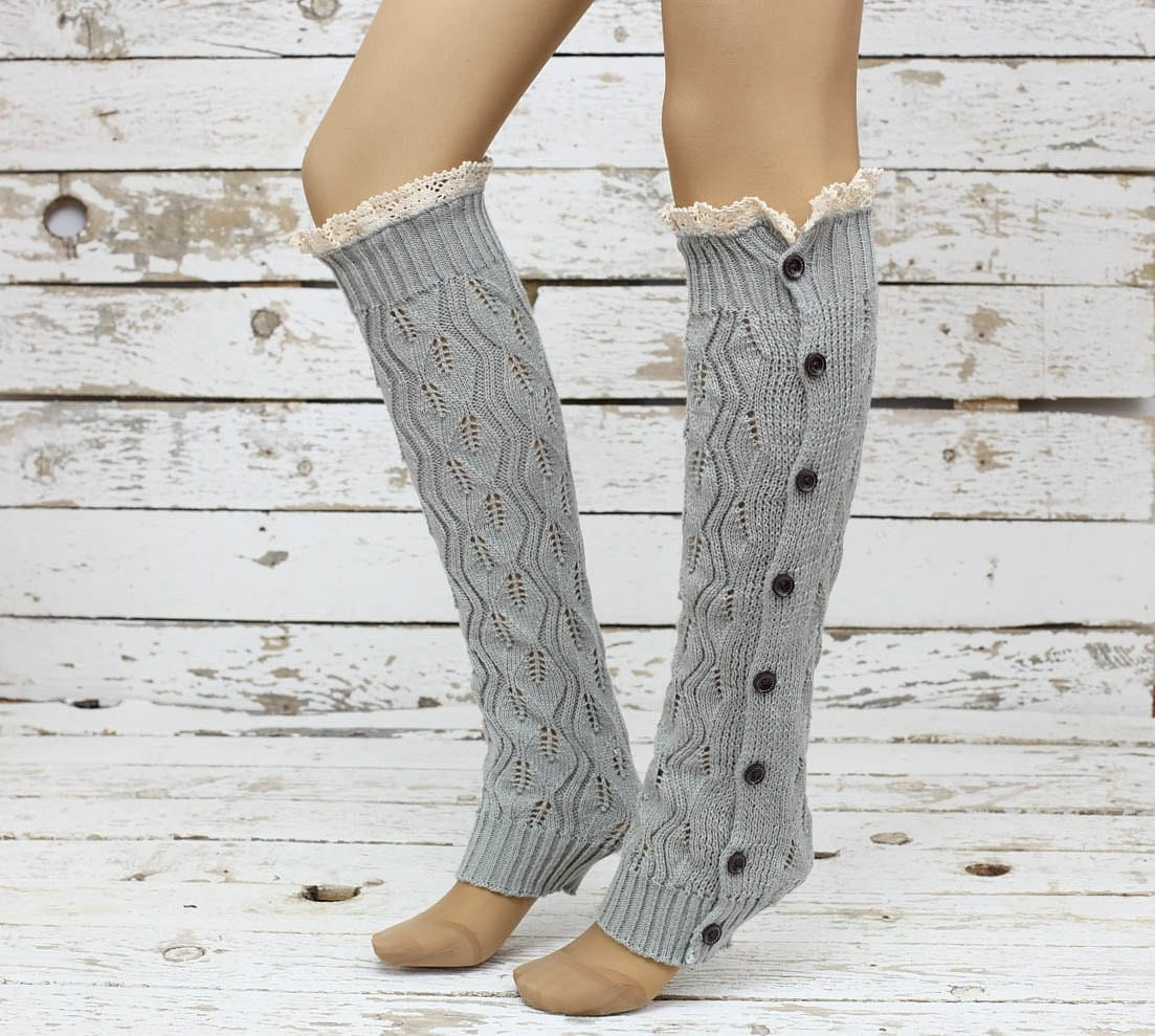 Knitted Leg Warmers Gray Lace Button Up Boot By DayfitFashion