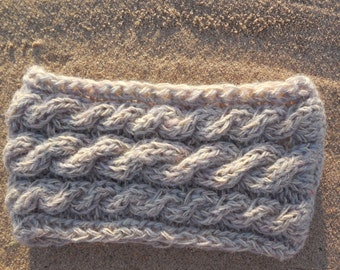 Gray Knit Wool Headband, Winter Ear Warmer, Chunky Gray Headband