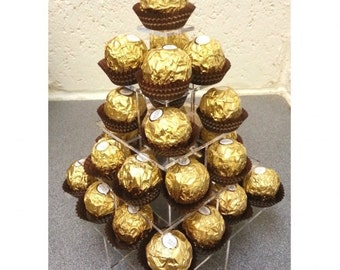 Ferrero Rocher, Chocolate, Sweets or Marshmallow Wedding & Party Stand (Square Pyramid 5 Tier Clear Acrylic Stand)