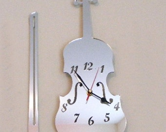 Violin and Bow Clock Mirror - 2 Sizes Available
