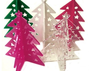 Acrylic 3D Christmas Tree Decorations - Available in 4 Colours plus Clear