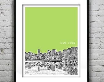 New York City Central Park Skyline Art Print Poster NYC NY Central Park Manhattan