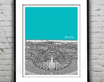 Haifa Skyline Poster Israel Art Print Middle East