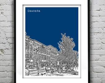 Oneonta New York Skyline Art Print Poster SUNY