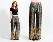 vintage 70s SEQUIN chevron Pants S wide leg palazzo silver gold gunmetal metallic striped