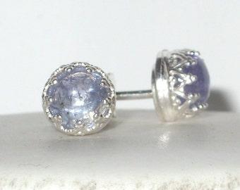Tanzanite gemstone Earrings - stud - Tanzanite Gemstone  - statement earrings - Stud Earrings - bezel earrings - art deco - vintage style