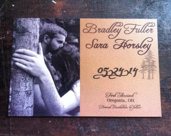 Pine Tree Save the Dates with photo