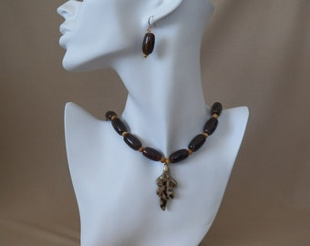 Porcelain Leaf Necklace & Earrings