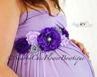 Purple Sash Belt Flower Shabby Chic Pearl Lace Maternity Girl Baby Shower Belly Band Photo Prop Newborn Wedding Bridal Wedding Velcro Violet