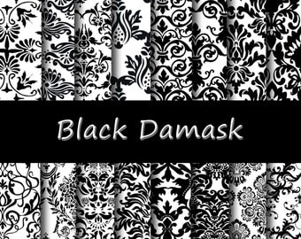 "Black Damask Digital Paper Pack - Instant Download ""BLACK DAMASK"" Scrapbooking papers, Background papers"