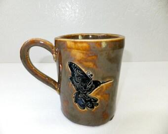 Large Golden Brown Hummingbird Coffee Mug, Hand Built Stoneware Pottery Mug
