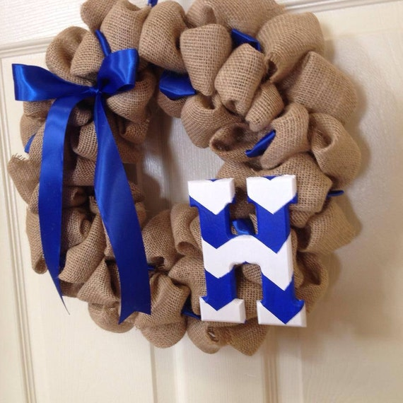 Natural Burlap Wreath w/ ribbon and Chevron monogram