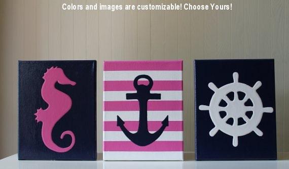 Anchor Wall Decor Nursery : Items similar to baby girl nautical decor nursery