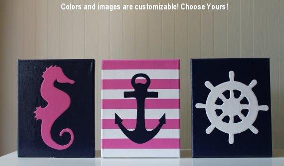 Nautical Baby Wall Decor : Items similar to baby girl nautical decor nursery